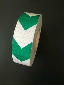 High Intensity Reflective Tape Arrow Hi Viz Vinyl Safety DIY Green/White 50mmx6M