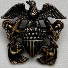 USN Officer Lapel Pin - Vintage Sterling United States Navy H-H Eagle Badge