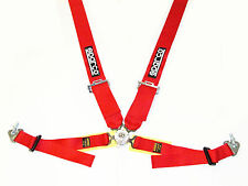 "Sparco Competition 4 Point Snap-In 3"" Seat Belt Harness with Camlock (Red) FIA"