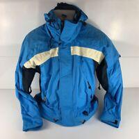 Obermeyer Adrenaline Mens Ski Jacket Blue Removable Hood High Neck Lined Zip XS
