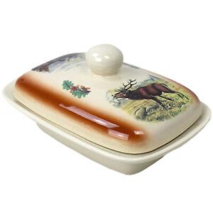 Butterdose groß - Butterglocke für 250 g Butter-Dose Keramik Wild Motiv in Braun