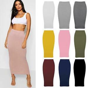 New Womens Ladies Plain Jersey Tube Midi Midaxi Pencil Summer Long Maxi Skirt