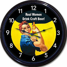 Rosie the Riveter Real Women Drink Craft Beer Poster Wall Clock WWII Home Brew