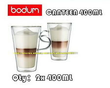 IN BOX BODUM CANTEEN DOUBLE WALL CLEAR THERMO-GLASS MUGS FOR COFFEE TEA x2 400ML
