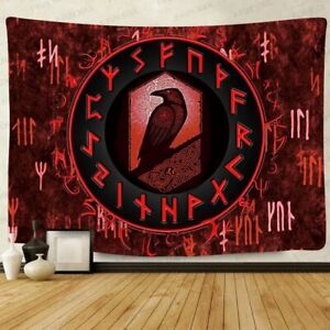 Viking Raven Tapestry  Art Wall Hanging Mysterious Meditation Psychedelic Runes