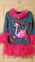 Ugly Christmas Sweater LED Light Pink Flamingo M Gap Boa Feather