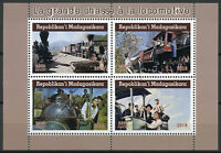 Madagascar 2019 CTO Great Escape Steam Locomotives 4v M/S Trains Rail Stamps