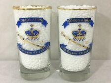 H.M. Queen Elizabeth II 1953 CORONATION DRINKING GLASSES Lot Set x 2 Exc. Cond!