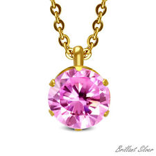 Simple Women's Necklace & Pendant Stainless Steel Gold Crystal Pink 2 Piece Set