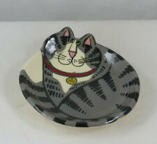 "New Listing Grey Tabby Cat Spoon Rest, Tea Bag Holder, Pin Dish Marked Reiter & ""Max"""