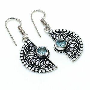 """Swiss Blue Topaz Gemstone 925 Sterling Silver Jewelry Earring 1.58 """" A296"""