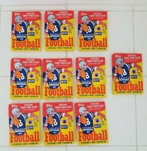 10 Vintage Topps Wax Packs UNOPENED 1989 Football