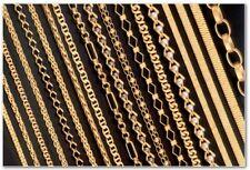 Collar cadena pulsera de fina plata de ley 925 bañada en oro 14kt Italiano
