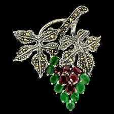 Sterling Silver 925 Genuine Natural Emerald, Ruby Gem & Marcasite Grape Brooch
