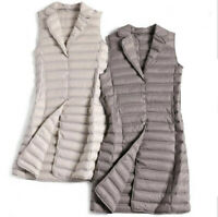 Women Packable Ultralight Long 90% Down  Suit collar Jacket Puffer Parka Vest