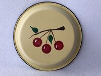 Vintage Enamelware Pie Pan Plate Yellow With Cherry Design