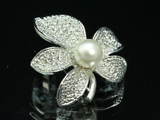 2 pc Austrian crystal white pearl silver plated leaf flower Scarf Brooch pin D02