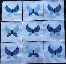9 Fabric Quilt Top Blocks 6 Inch Square Blue Patchwork Butterfly Applique