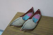 ANTIQUE ARABIAN ALADDIN SHOES LEATHER HAND EMBROIDERED METALLIC SILVER HANDMADE