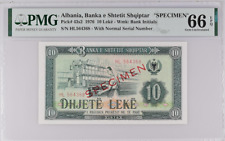 Albania Banka Shtetit Shqiptar Specimen 1976 10 Leke #43s2 Pmg 66Epq Normal S/N