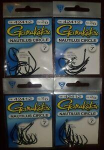 (4) Gamakatsu 2/0 Nautilus Circle Hooks 42412 4Packs Great Price! Free shipping!