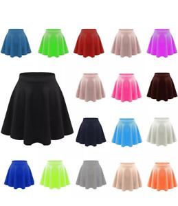 Kids Flippy Flared High Waistband Stretch Plain Short Girl Skater Skirt 5-13 Yrs