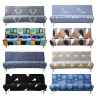 Stretch Elastic Armless Sofa Bed Couch Cover Full Folding Futon Slipcover Printe