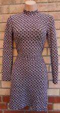 TOPSHOP BURGUNDY WHITE QUILTED FEEL BODYCON LONG SLEEVE ABSTRACT TUBE DRESS 8 S