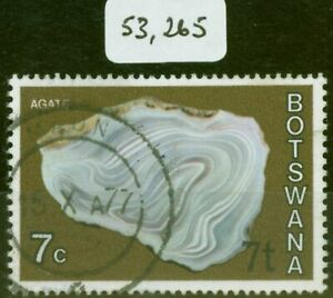 Botswana 1976 7t on 7c Agate SG372a Surch at Bottom Right V.F.U
