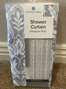 Comfort Bay Soft Fabric Shower Curtains 72 in W x 72 in L Gray/White New