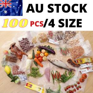 100 X Vacuum Sealer Bags Pre cut Food Storage Saver Heat Seal vac 4 Size New AU