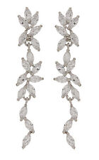CLIP ON EARRINGS - silver plated luxury drop earring with CZ crystals - Alison