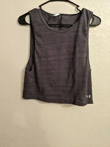 Under Armour Womens Gray Sleeveless Cropped Fit Pullover top xs loose heat gear