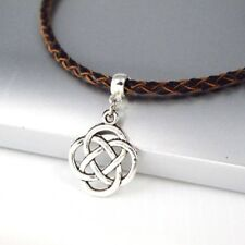 Vintage Silver Alloy Irish Celtic Pendant Brown Braided Leather Choker Necklace