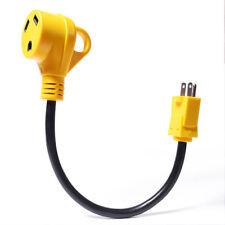 "18"" 15M/30F RV Dogbone Electrical Adapter 15Amp Male Plug to 30Amp Female Handle"