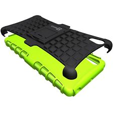 for Sony Xperia X Case - Neon Green / Black Dual Layer Kickstand Phone Armor