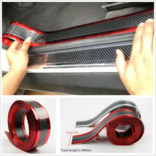 2.5M*5cm Red Sides Carbon Fiber Style Car Door Sill Scuff Pedal Protector Strips