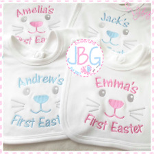 Personalised First Easter Baby Bib, Easter Gift, Milestone, Embroidered Design