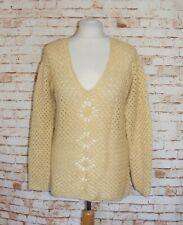 size 14-16 vintage 70s handmade crochet knit jumper sheer long sleeve yellow