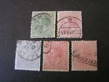 SPAIN, SCOTT # 243/244(2)+246/247+249, TOTAL 5 I879 KING ALFONSO XII ISSUE USED