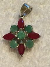 Beautiful Emerald and Ruby Pendant .925 Silver
