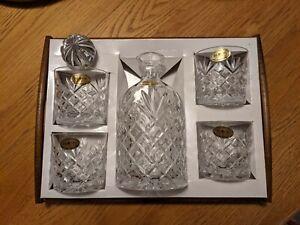 Block Lead Crystal Decanter & 4 Glasses - UNUSED / OPEN BOX  Liquor Whiskey Set
