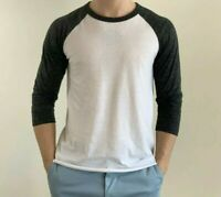 Men's Raglan Baseball Tee Three-Quarter Length Sleeves Shirt Size M