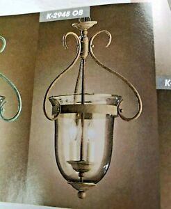 "13"" x 21"" ENTRY FIXTURE 4-Light OLDE BRICK Seedy Glass CHANDELIER K2948OB NEW"