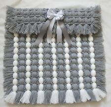 GREY & WHITE POM POM POPCORN LIGHTWEIGHT BABY  BLANKET WITH REMOVABLE BOW