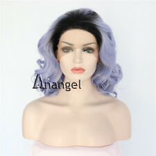 Synthetic Lace Front Wig Purple Medium Curly Dark Root Hair Resistant Full Wigs