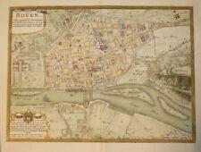 DESNOS Plan gravé en couleurs ROÜEN Ville Capitale Normandie Rivière Seine 1766