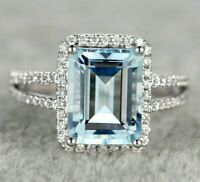 2CT Emerald Cut Aquamarine & Diamond 14k White Gold Finish Halo Split Shank Ring