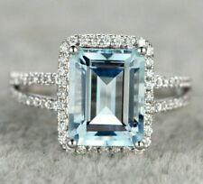 2CT Emerald Cut Aquamarine & Diamond 14k White Gold Finish Halo Split Shank Ring
