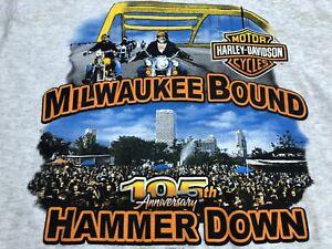 Men's Harley Davidson Tshirt Milwaukee Bound Hammer Down Hanes Size Medium